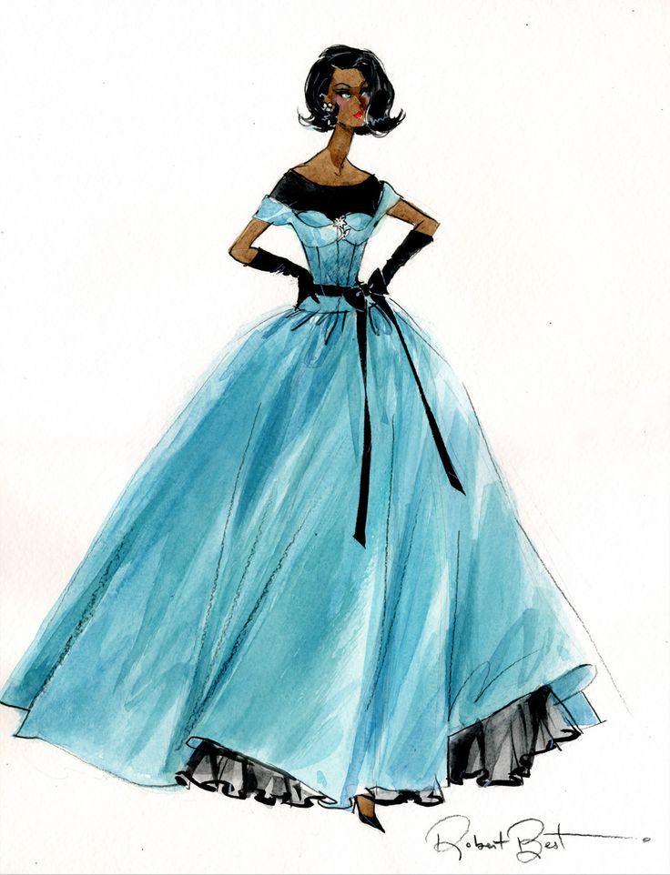 AA Ball Gown Sketch by Robert Best | Dutch Fashion Doll World